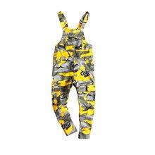 MORUANCLE Men's Camouflage Cargo Denim Bib Overalls Hip Hop Jeans Jumpsuits Camo
