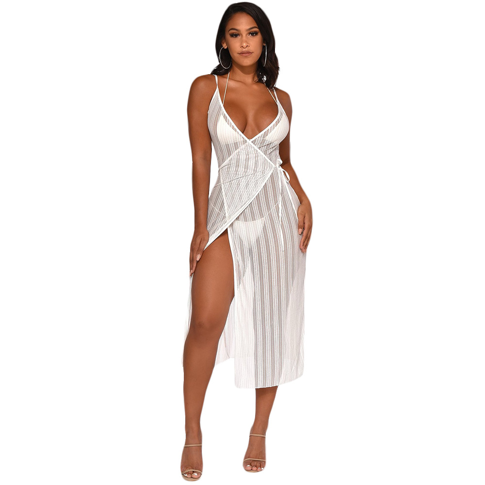 sensual spaghetti strap white gown bandage <font><b>dress</b></font> single split v neck lace <font><b>dress</b></font> <font><b>transparent</b></font> stripe hollow out <font><b>night</b></font> <font><b>club</b></font> suits image