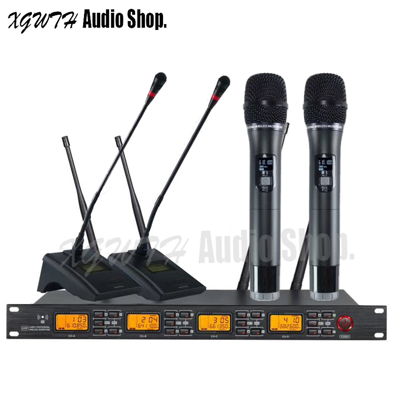 4 x 60 Channel Digital Wireless Microphone System UHF With Audio 2 Gooseneck Conference 2 Karaoke Handheld Dynamic Cardioid Mic4 x 60 Channel Digital Wireless Microphone System UHF With Audio 2 Gooseneck Conference 2 Karaoke Handheld Dynamic Cardioid Mic