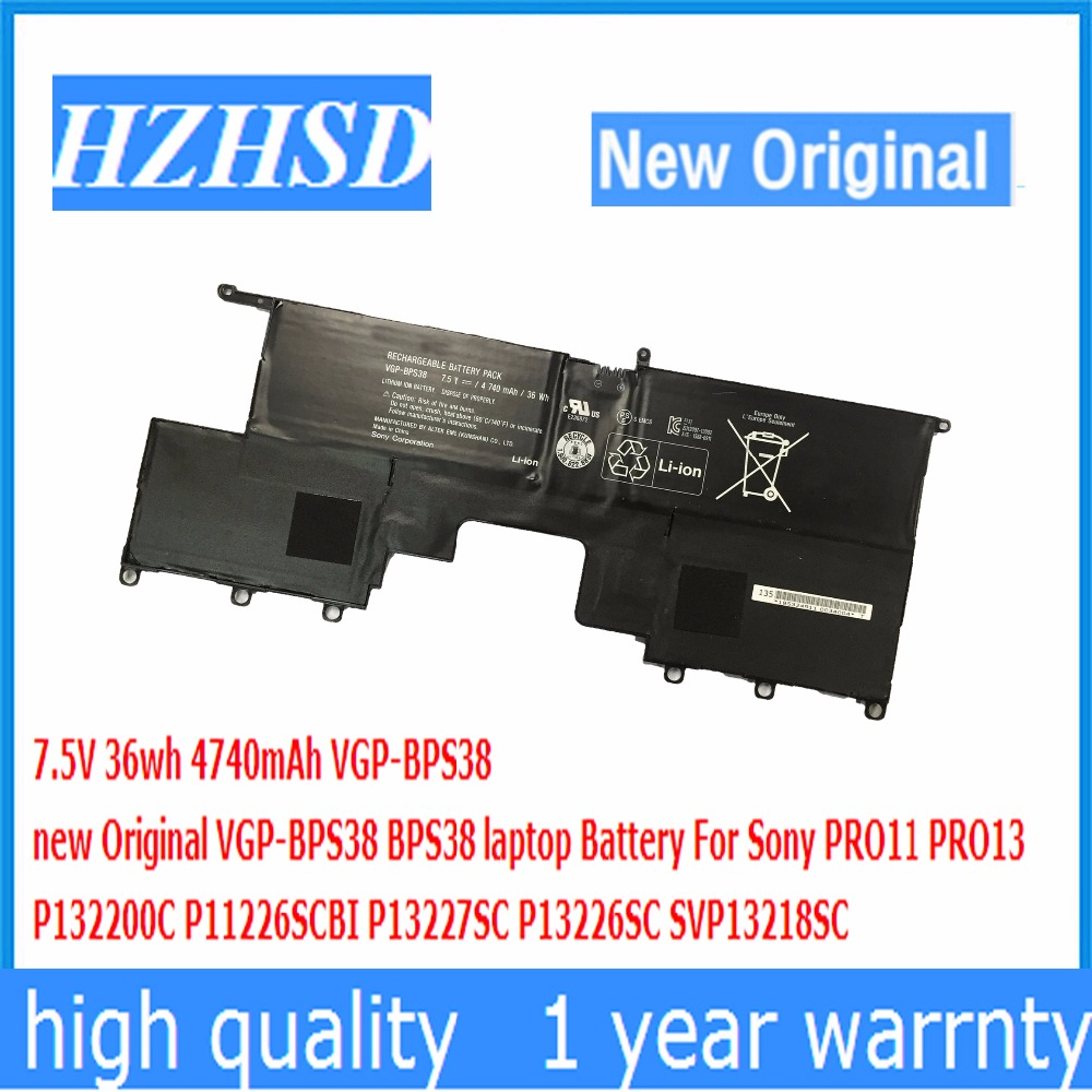 BPS38 7.5V 36wh 4740mAh new Original VGP-BPS38 laptop Battery For Sony PRO11 PRO13 P132200C P11226SCBI P13227SC SVP13218SC sony vgp bps22 оренбург