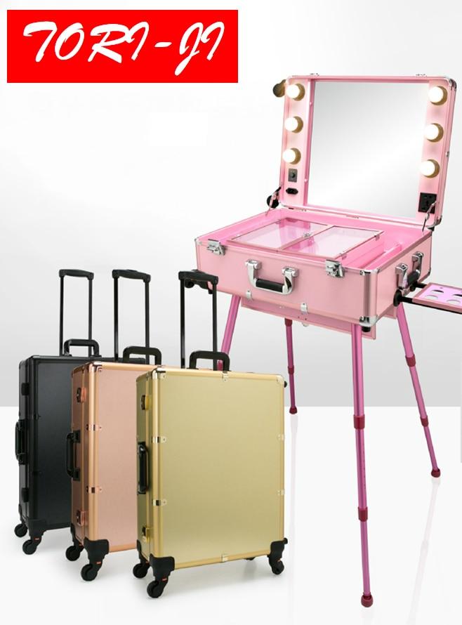 Tori ji Studio Makeup Case with Light Pro Makeup Station Rolling Studio Makeup Artist Cosmetic