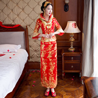 bride wedding dress Traditional chinese style costume Phoenix cheongsam clothing Luxury ancient Royal Red Qipao gown S XXL