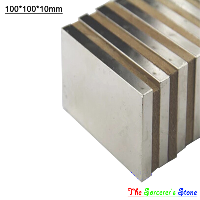 1pcs Super Strong 100x100x10mm   Rare Earth Neodymium Block Magnet  N52 Free Shipping 2015 20pcs n42 super strong block square rare earth neodymium magnets 10 x 5 x 1mm magnet wholesale price