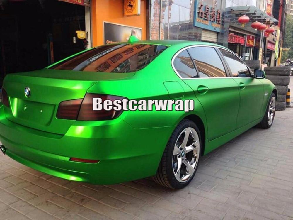 Satin Green Matte Chrome Car Vinyl Wrap Sticker Film With