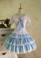 Sweet Sailor Style Lolita Skirt and Blouse Set Pink/Sky Blue
