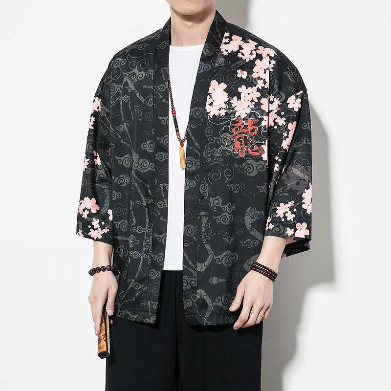 Veste homme japonais Streetwear Kimono veste hommes noir coupe-vent hommes 2018 été