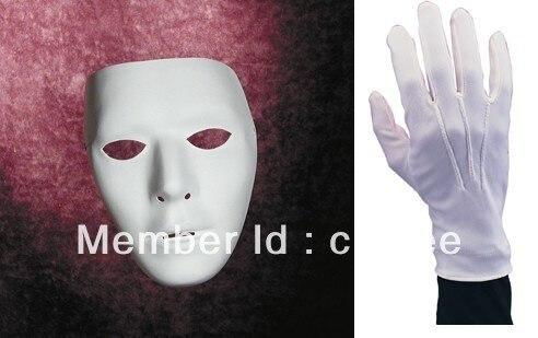 white jabbawockeez party mask and gloves