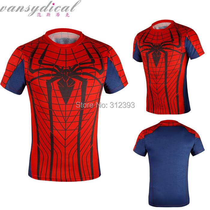61427697 Top quality compression t shirts Spider Man gym t shirt men workout fitness tight  shirts men's running cycing shirts= ב-Top quality compression t-shirts ...