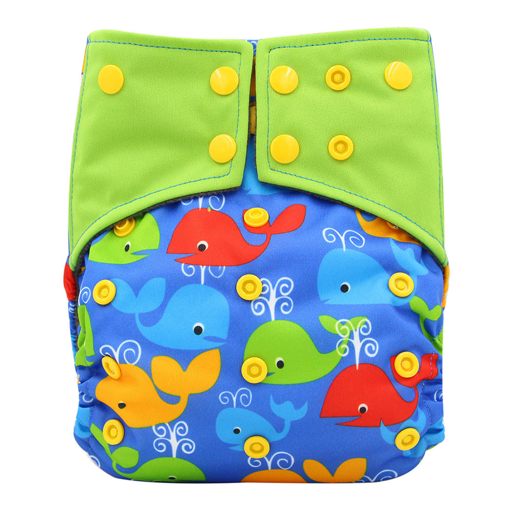 OhBabyKa Baby Bamboo Charcoal Cloth Diaper Reusable Nappy Liners Cloth Pocket Diapers Size Adjustable Washable Diapers 0-3Years