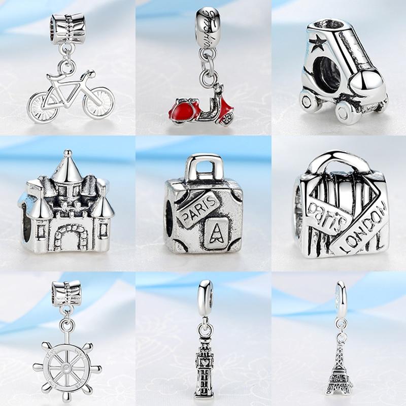 2018 Silver Beads Travel Eiffel Tower Big Ben Suitcase Pendant Charm Fit Pandora Women Diy Bracelets