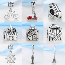 2018 Silver Beads Travel Eiffel Tower Big Ben Suitcase Pendant Charm Fit Pandora Women Diy Bracelets Bangles Necklace Jewelry