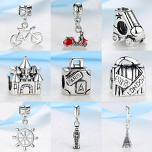 2018 Silver Beads Travel Eiffel Tower Big Ben Suitcase Pendant Charm Fit Pandora Women Diy Bracelets Bangles Necklace Jewelry(China)