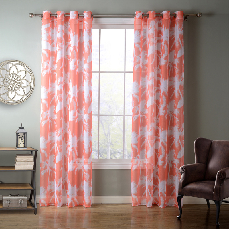 SunnyRain 1 Piece Orange Coconut Palm Sheer Curtain For Living Room Window  Curtains For Bedroom Drape Top With Eyelet Cortinas In Curtains From Home  ...