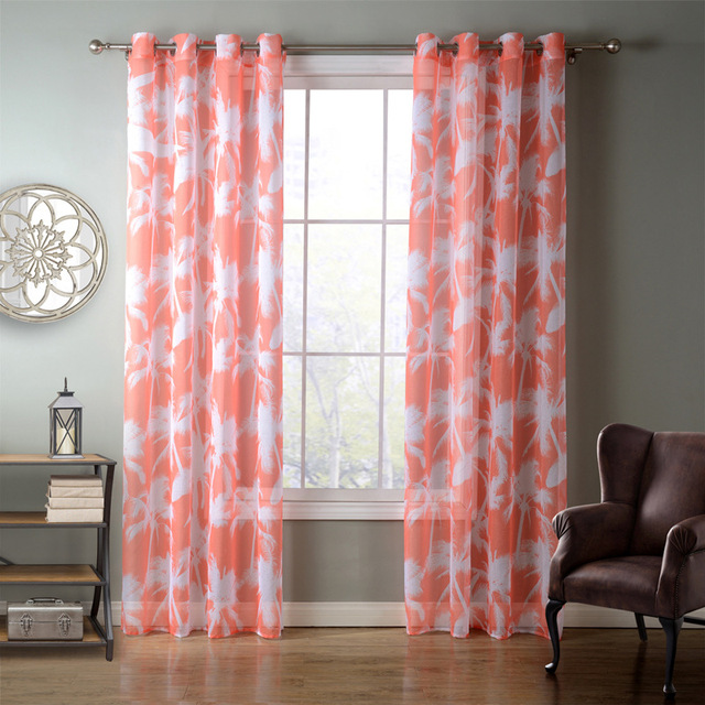 SunnyRain 1 Piece Orange Coconut Palm Sheer Curtain For Living Room ...
