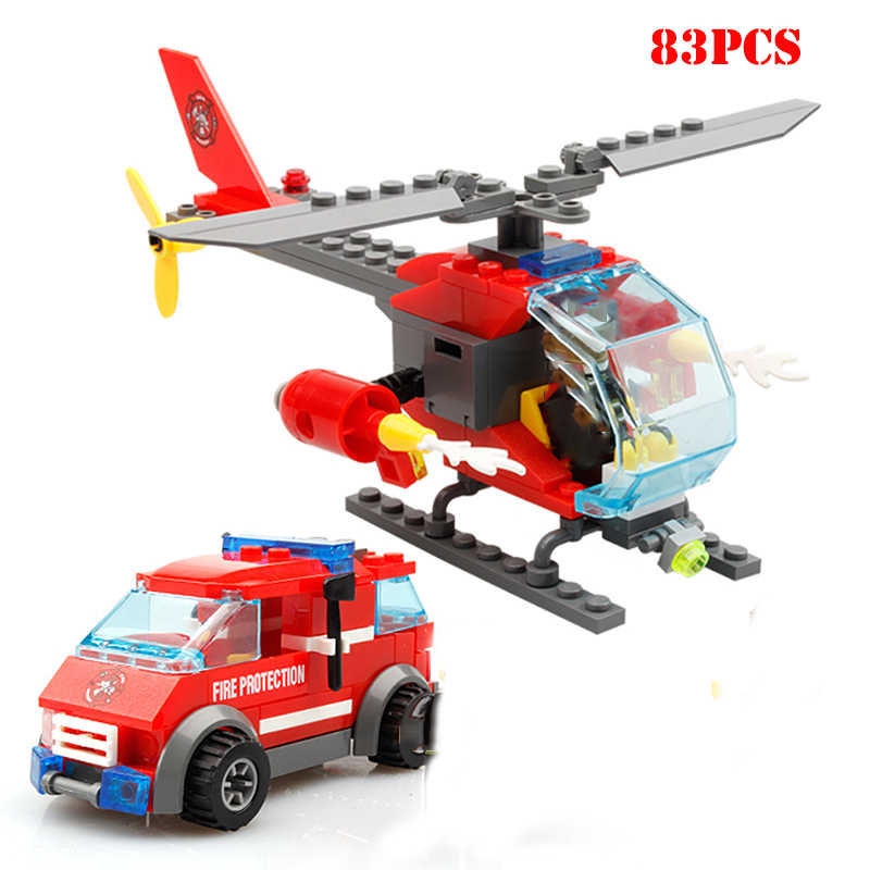 Mini Fire Station Helicopter Truck Firefighter Figures Building Block Compatible Legoing Police City Enlighten Bricks Child Toys