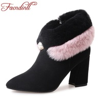 FACNDINLL Genuine Suede Leather Fur Shoes Women Winter Snow Ankle Boots Fashion High Heels Pointed Toe