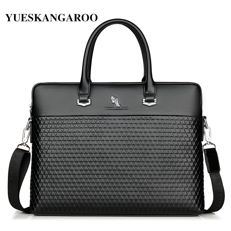 2018 New Luxury Brand Leather Men's Briefcase Handbags Fashion Large Capacity Business Bag Tote Black Male Shoulder Laptop Bag