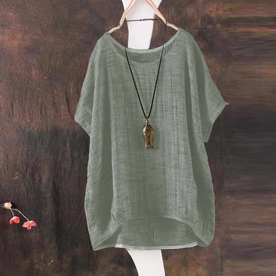 Summer Shirts Round Collar Flax Casual Tops Linen Shirt Blouse Women Breathable Loose Plus Size Top Linen Blouse Solid