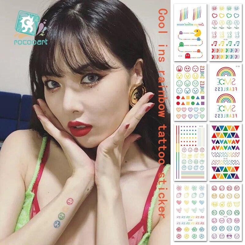Rocooart Hyuna Expression Tattoo Sticker Hand Lovely Body Art Fake Tatoo Rainbow Temporary Waterproof Taty 10.5x6cm 5-7days