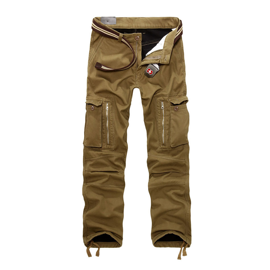 Men Cargo Pants Plus Size Autumn Winter Thick Warm Pants Full Length Multi Pocket Casual Military Baggy Tactical Trousers 2019