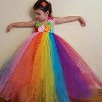 Children Girl Flower Tutu Dress Candy Rainbow Fluffy Dress Birthday Photo Wedding Party Festival Clothing TS096