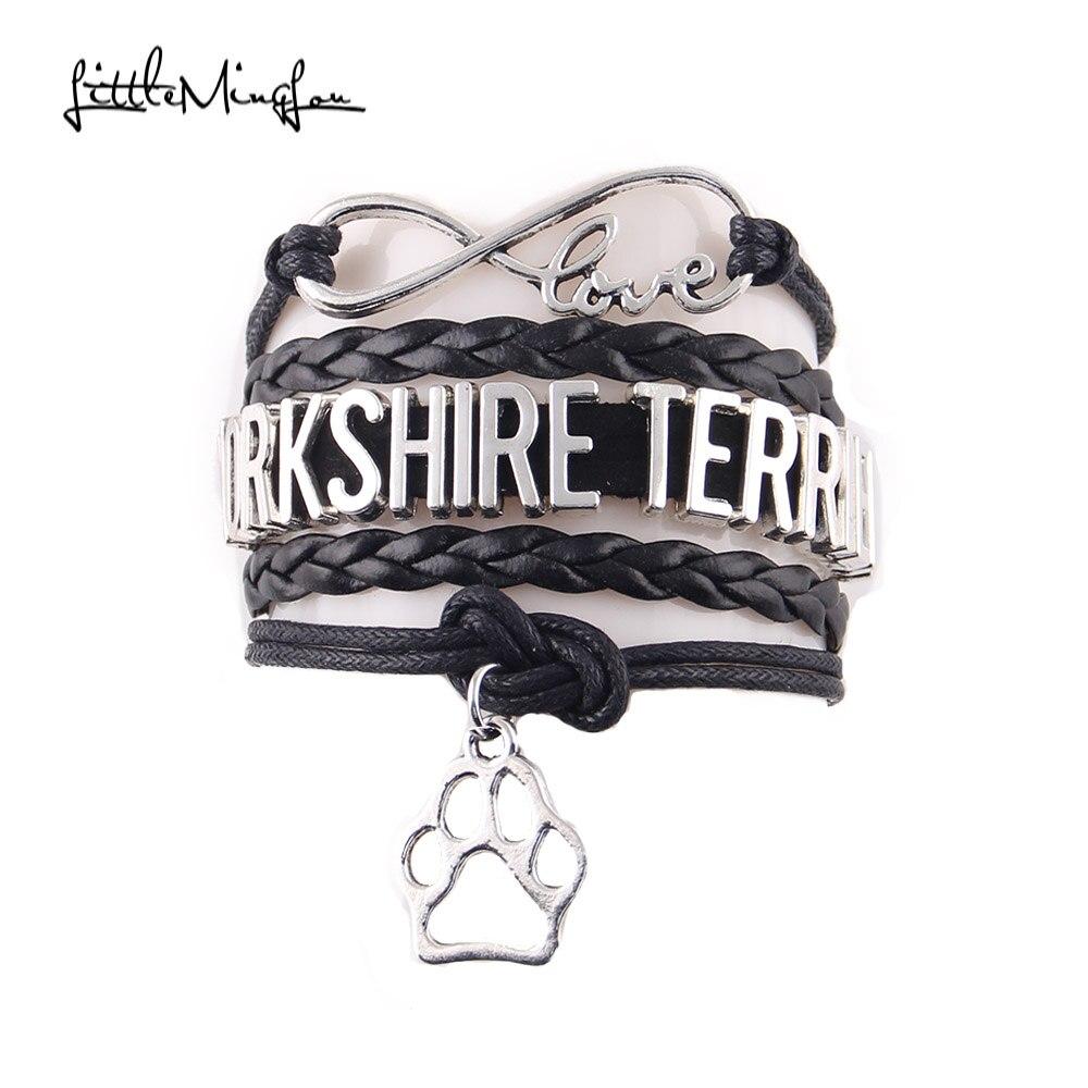 Little MingLou Infinity love YORKSHIRE TERRIER bracelet dog pet paw charm leather wrap men bracelets & bangles for women jewelry