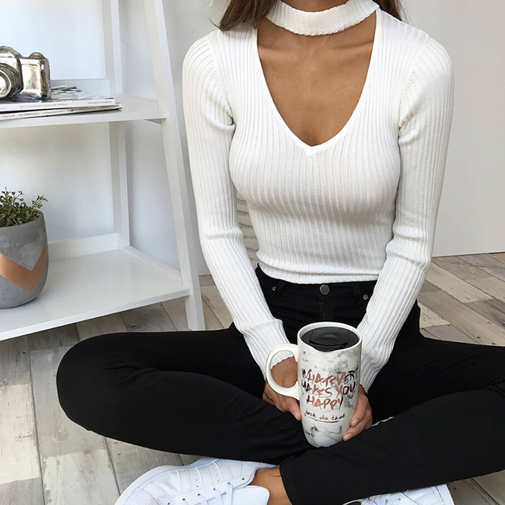Choker V Neck Knitted Sweater Bodysuits Sexy Autumn Women Bodysuit 2018  Club Jumpsuit Rompers Long Sleeve Bodycon Body Top GV310-in Bodysuits from  Women s ... 1d10018e8