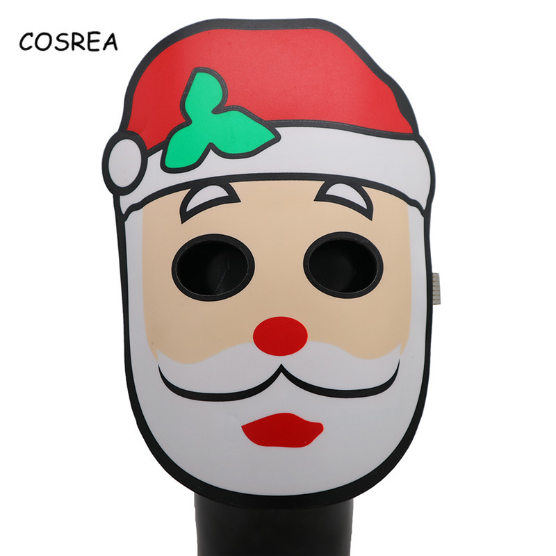 COSREA Christmas Mask Light Facial Mask Female Men Facepiece Santa Claus Mask Hat Boys Girls Decorating Cosplay Costumes
