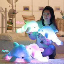 45cm Children Kids Luminous Cute Stuffed Dolphin Doll Pillow Glowing Soft Plush Toys Girls Party Birthday Christmas Gifts(China)