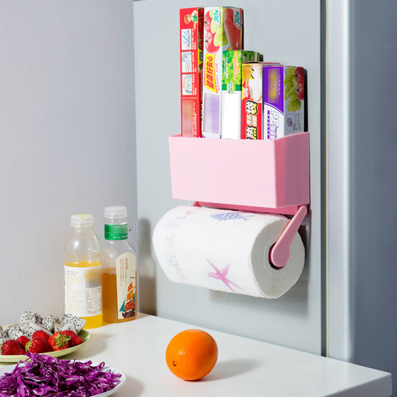 Hot Magnetic Refrigerator Bathroom Kitchen Storage Rack Decorative Wall Shelves Bottle Rack Cling Film Holder rangement