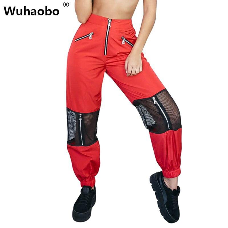 Wuhaobo 2018 Mesh Patchwork Reißverschluss straighht Hosen Frauen Lose Beiläufige Hohe Taille Hosen Fashion Femme Streetwear Pantalon