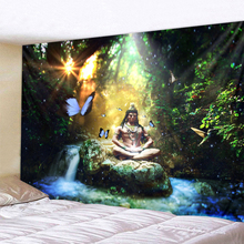 Forest Buddha Statue Polyester Wall Hanging Tapestry Mandala Bohemia 5 Sizes Travel Sleeping Pad Fabric