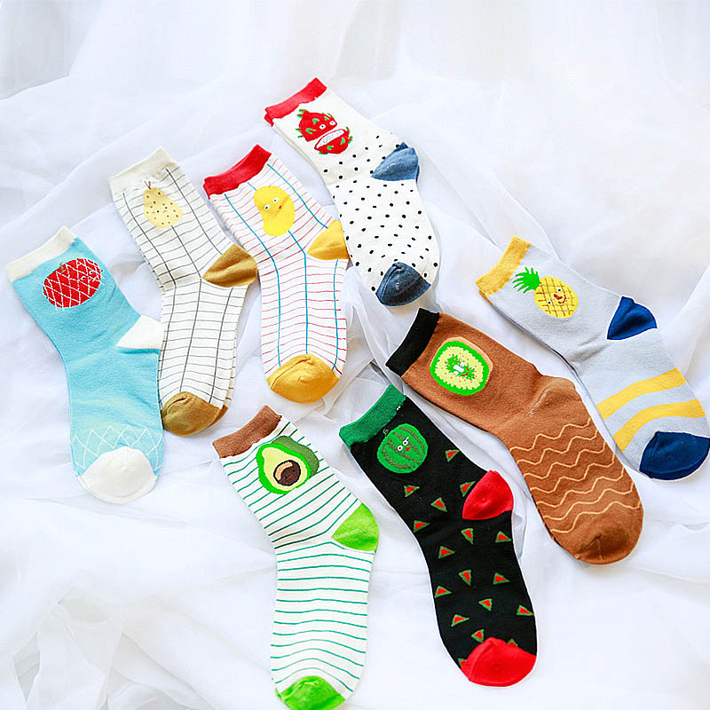 1Pair Fashion Comfortable Cartoon Fruit Socks Lovely Women Soft Cotton Medium Cylinder Harajuku Girls Socks