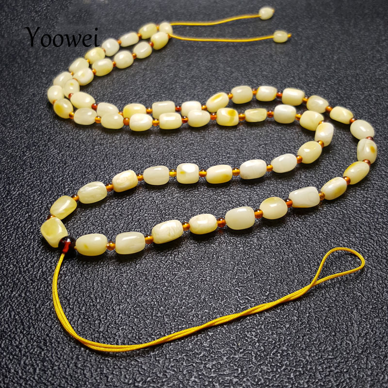 Yoowei Natural Amber Necklace for Women Gift 100% Real diy Jewelry 58cm Adjustable Chain Baltic Genuine Amber Beads Wholesale yoowei 4mm natural amber bracelet for women small beads no knots multilayered sweater chain necklace genuine long amber jewelry