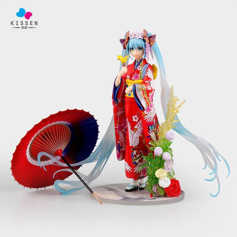 ФОТО Kissen Anime Vocaloid Hatsune Miku Stronger Hanairogoromo Kimono Yukata Cute 1/8 PVC Action Figure Toy Collection Model