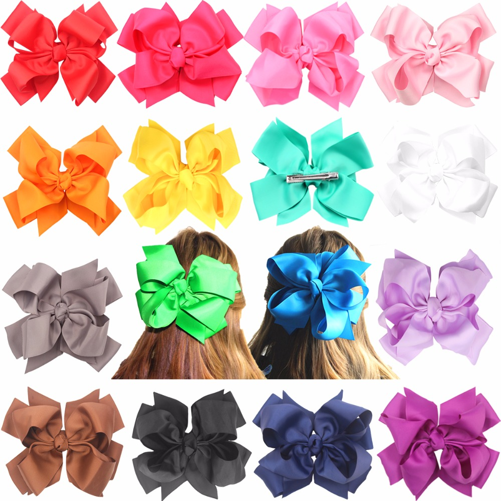 16pcs Big Hair Bows Clips For Girls-7 Inches Huge Large Double-Deck Bow Boutique Hair Bows For Girls Kids Children Women