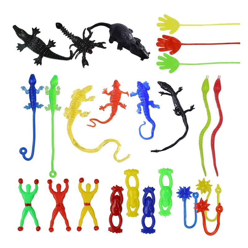 72Pcs Stretchy Sticky Finger Toys Assorted Shape Party Favors Includes Sticky Hands Wall Climber Men Snakes Great Gift Package