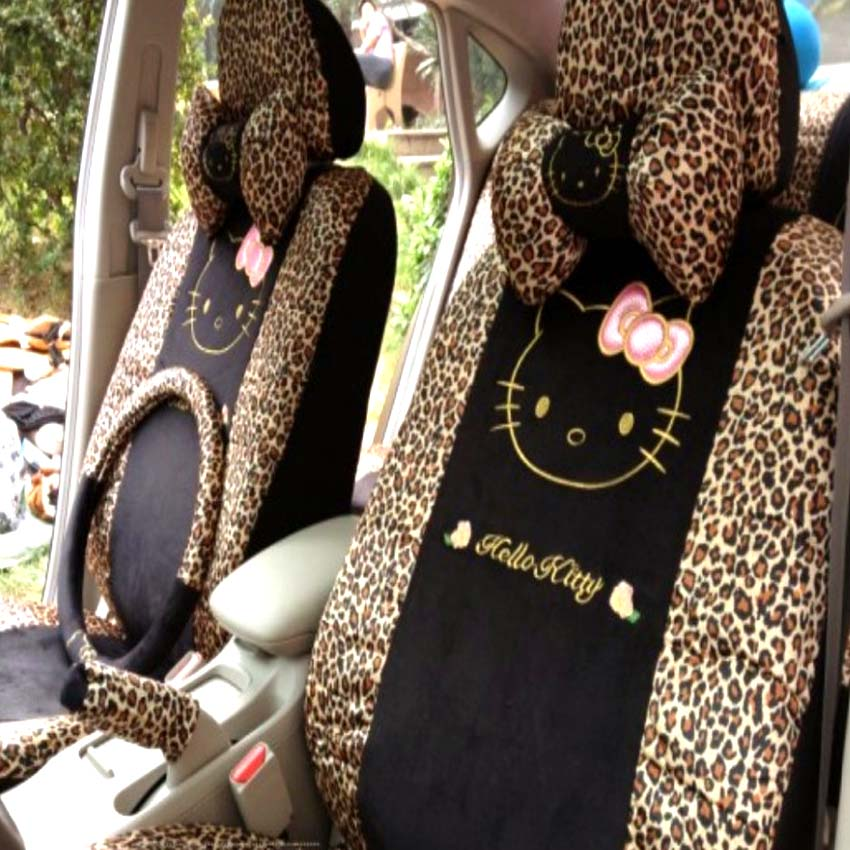 5 colors 18pcs universal leopard cartoon universal hello kitty car seat covers universal car. Black Bedroom Furniture Sets. Home Design Ideas