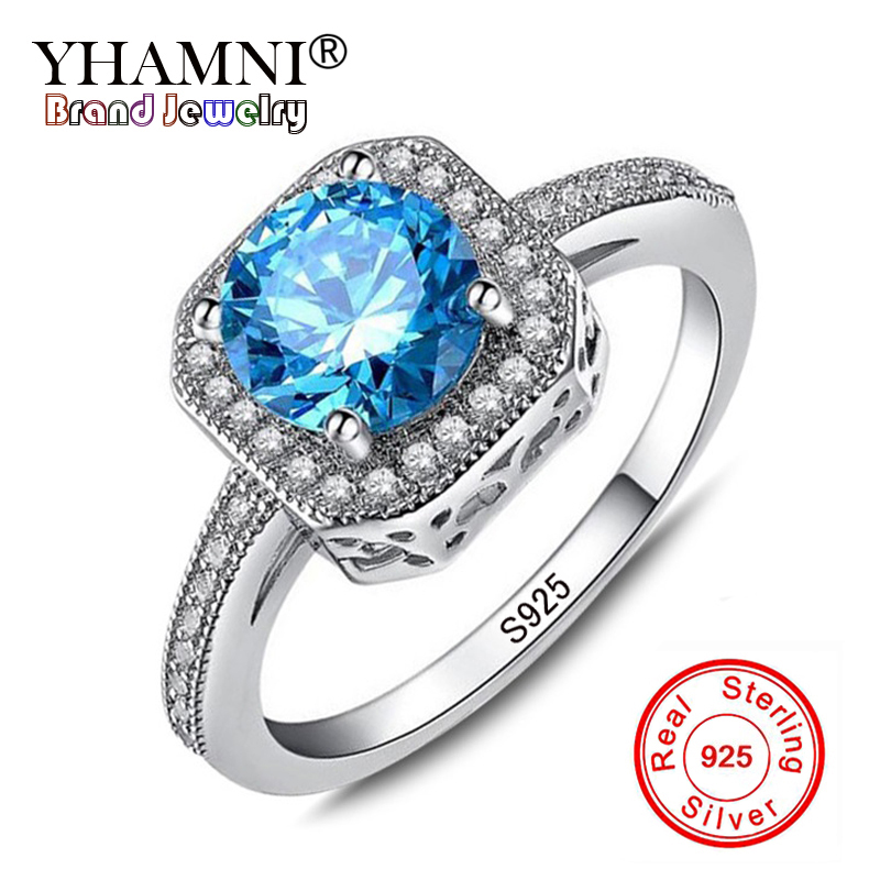 YHAMNI Luxury 1ct 6mm Natural Blue Gem Stone Rings for Women Real 925 Sterling Silver CZ Zircon Engagement Wedding Rings KR154