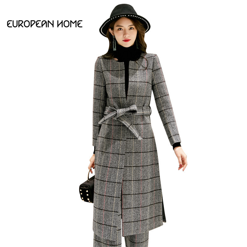 2019 New Korean Winter Coat Women O-Neck Thin Belt Lattice Collect Waist Long Section Coat Wide Leg Pants Women Two Piece Set