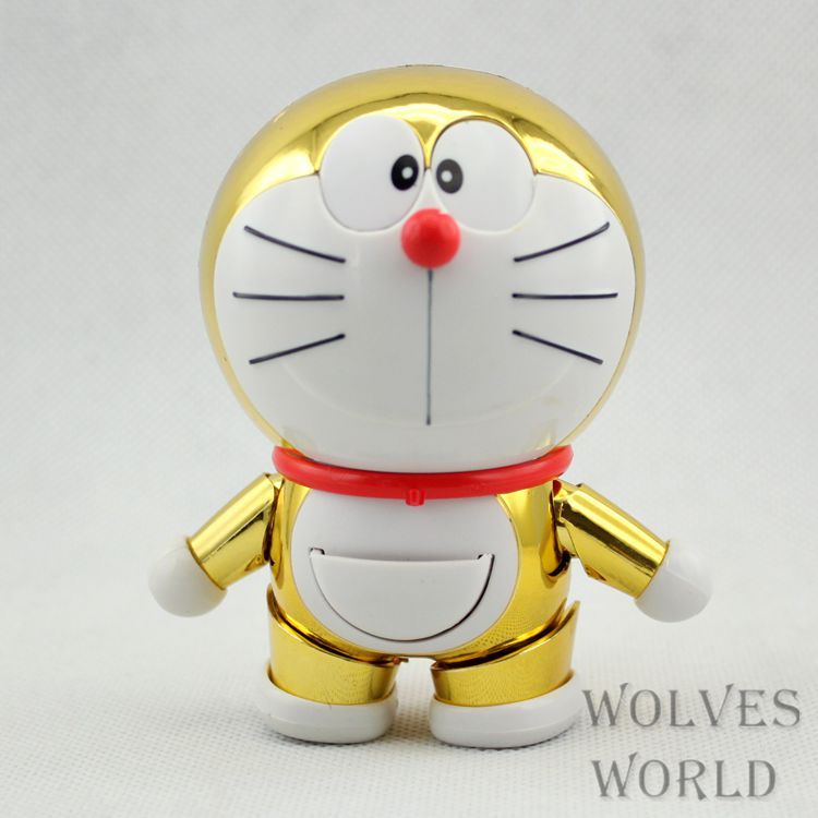 Huong Anime Figure 9 CM Doraemon Golden Catoon PVC Action Figure Dolls Collection Model Toys