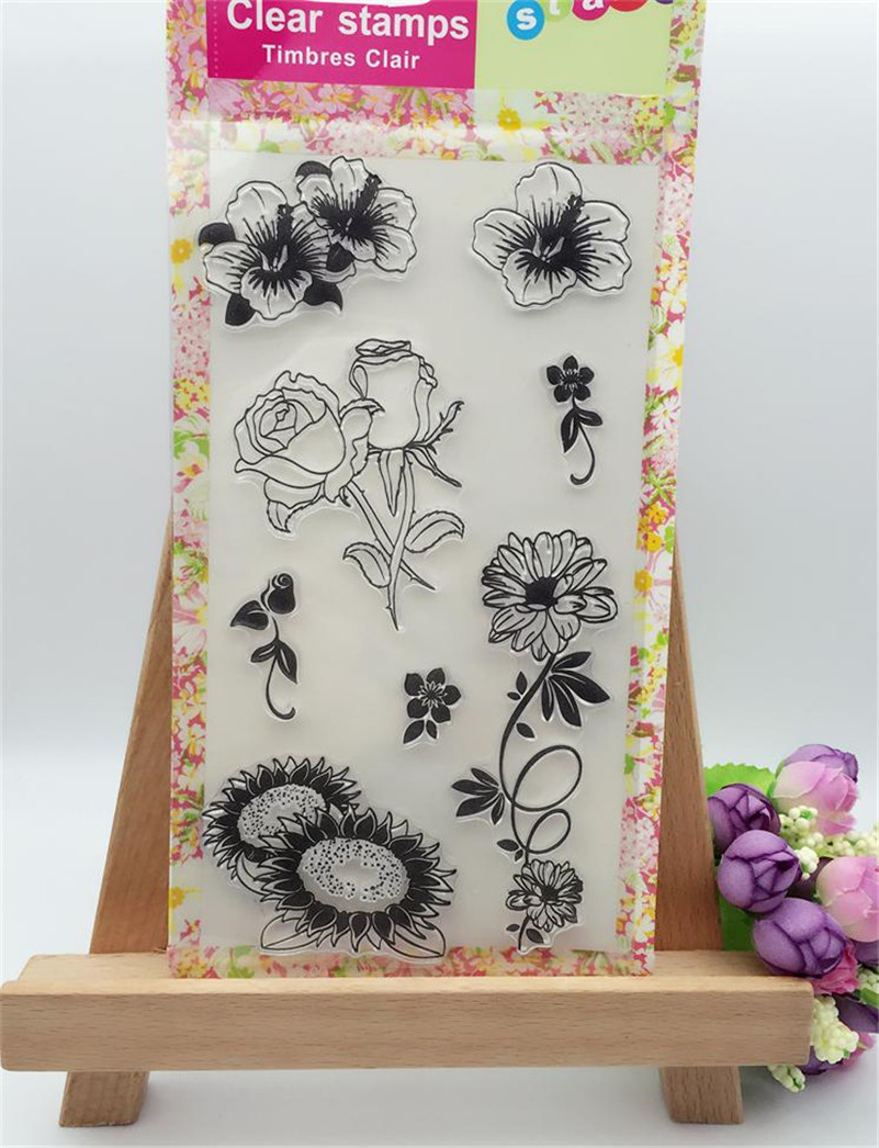 beauty rose and sunflowers Scrapbook DIY photo Album paper craft clear stamp transparent for christmas gift CL-300 letter phrase design scrapbook diy photo album paper cards silicone clear stamp transparent stamp for christmas gift tm 006