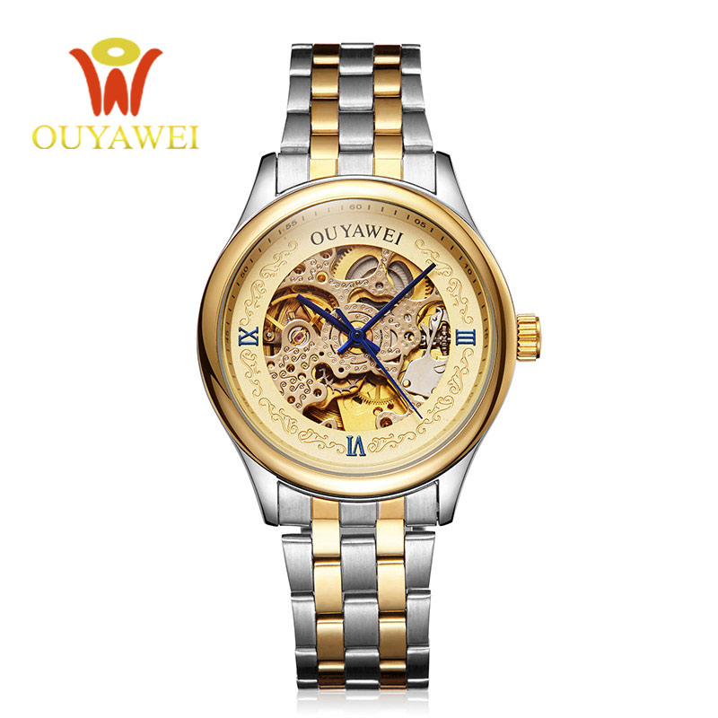 OUYAWEI Gold Skeleton Mechanical Mens Watches Stainless Steel mens automatic watch Transparent Steampunk Montre Homme Wristwatch read men skeleton mechanical watch stainless steel hand wind watches for men transparent steampunk montre homme wristwatch pr129