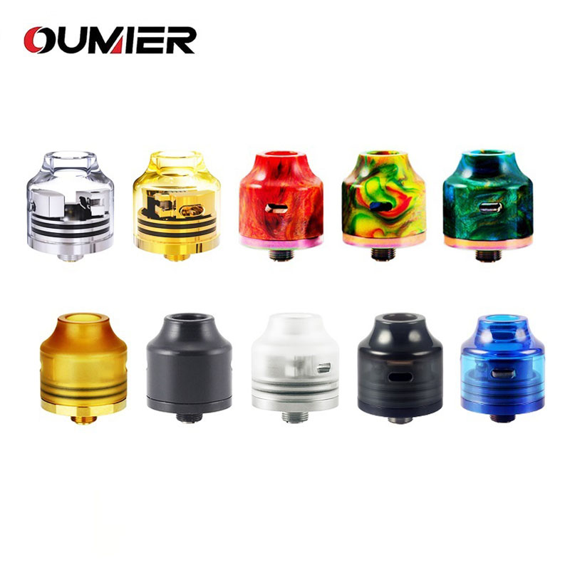 Original OUMIER WASP NANO RDA Big Deck Rebuildable Tank 22mm Diameter Adjustable Bottom Airflow NANO RDA with Resin Color Tank hot sale oumier wasp nano rda tank 22mm rda atomizer with squonkable bottom pin