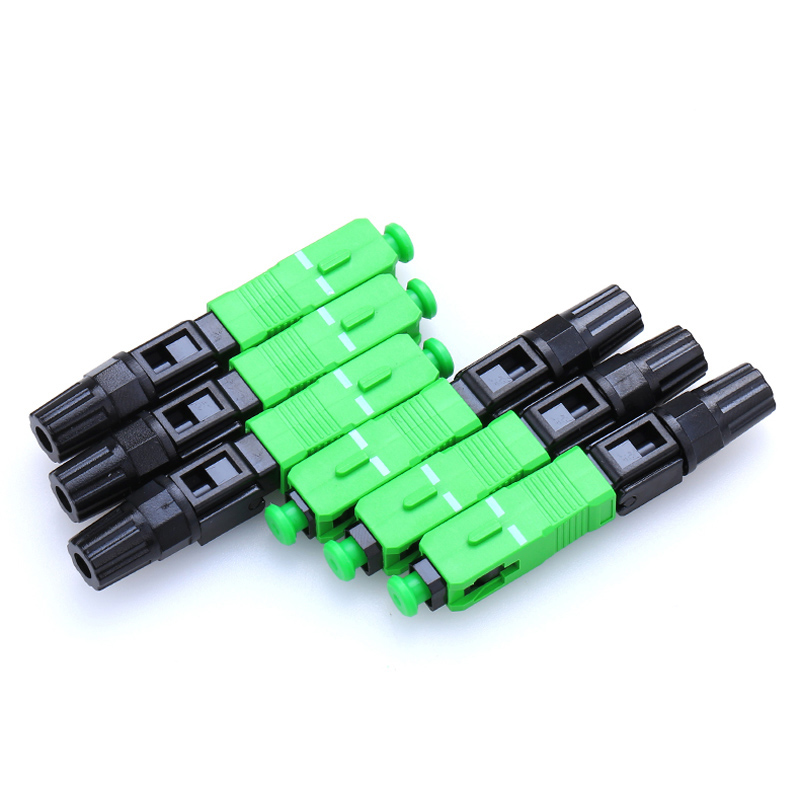 100PCS/lot SC APC Fast Connector Embedded Connector FTTH Tool Cold Connector Tool High Quality SC/APC Optical Fiber Connector