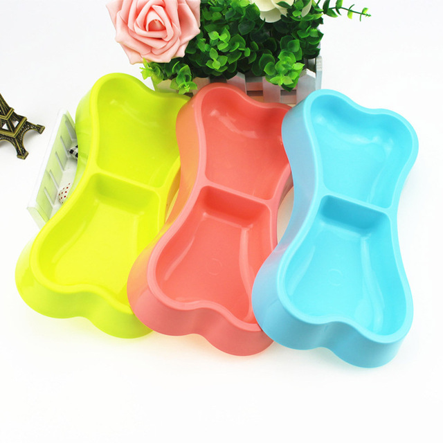 1 Pcs High Quality Plastic Dog Bowls Bone-shaped Candy Color Blue Yellow Pink Dog Feeder Eco-friendly Double-head Bowls