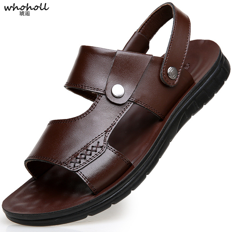 WHOHOLL New Leather Men Sandals Shoes Summer Leisure Beach Mens High Quality Slippers Bohemia Big Size 6.5-9.5