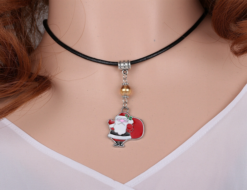 Crystal Beads Santa Claus Enamel Necklace Pendant Charms Choker Collar Statement Chain Accessories For Women Fashion