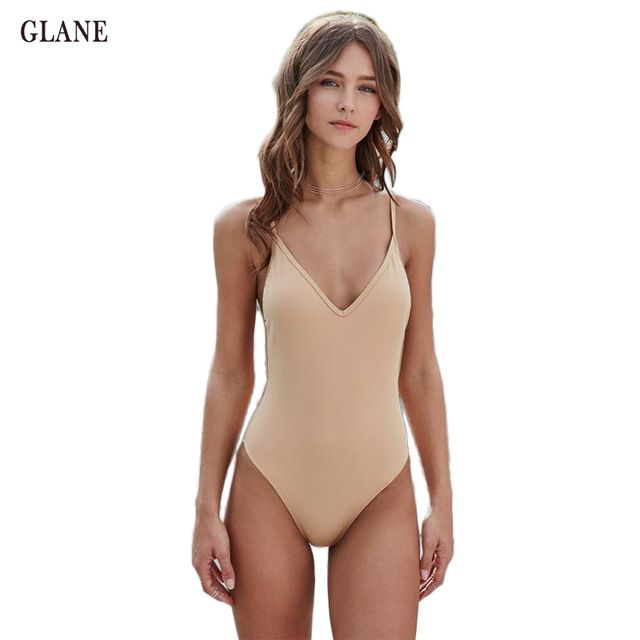 One Piece Swimsuit Sexy Swimwear Nude Color Women Bathing Suit Swim Vintage Summer Beach Wear Print