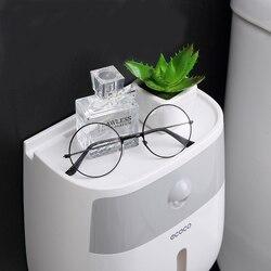 Artykuły domowe dozownik papieru rolkowego ECOCO wodoodporne dwuwarstwowe pudełko na chusteczki do oszczędzenia miejsca organizer łazienkowy półka do przechowywania kąpieli|Półki i stojaki|   -